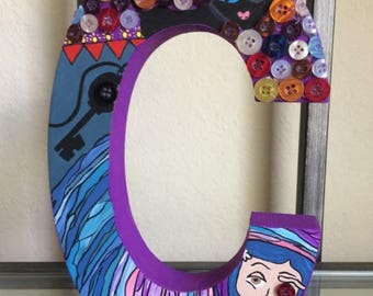 Coraline Letter C~ Wooden letter ~ Art~ Home Decor~ Custom Letter~ Hand painted