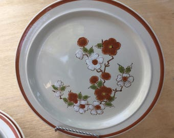 Vintage Mioko Stoneware hand painted dinner plates set of 4- rust and white flowers