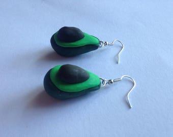 Polymer Clay avacado earrings