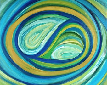 Original colorful turquoise abstract oil painting on canvas - Yin Yang