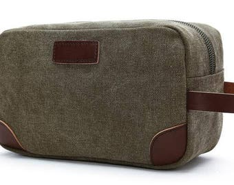 Groomsmen Gifts-Graduation Gift-Mens Toiletry Bags- Canvas and Leather Toiletry Bags-Initials monogrammed included-Olive or Tan