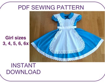 Alice in Wonderland costume pattern. PDF sewing pattern. Girl computer drafted dress and pinafore apron pattern. Halloween Alice Wonderland.