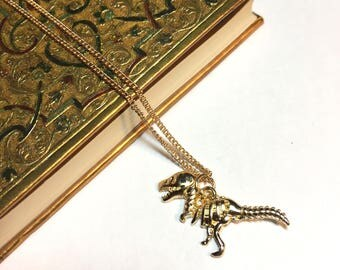 Unique Dinosaur Charm Necklace, gold charm necklace, dinosaur, gift.