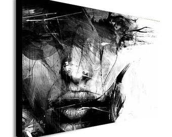 Abstract Black and White Female Face Canvas Wall Art Print - Various Sizes
