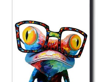 Frog Abstract Canvas Wall Art Print - Various Sizes
