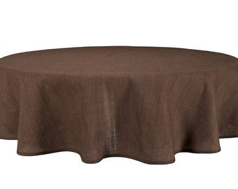 Brown Linen-Cotton Round/Oval Tablecloths - made in Europe - woven textile