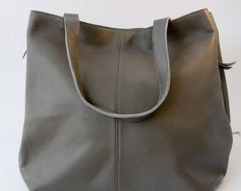 Grey Leather Tote Expandable Bag