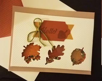 "Hand made ""Hello"" stamped, 3 dimensional confetti card"
