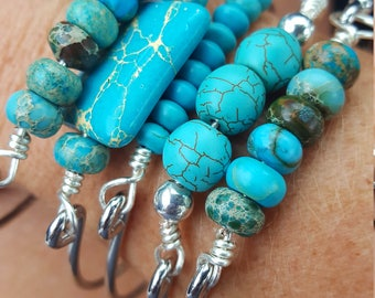 Turquoise and Silver Bangles