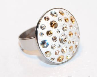 Handmade Stainless Steel White Ring with Swarovski Crystals