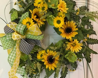 Yellow and green floral wreath