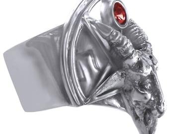 Sterling Silver Handmade Baphomet Ruby Lucifer Goat Ram Ring