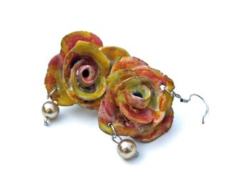 Earrings rose-pink and yellow