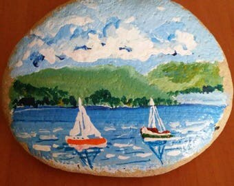 Stone painted boats