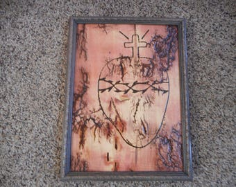 LICHTENBERG FRACTAL Beautiful Handmade Sacred Heart Of Jesus Electrifyed wood plaque