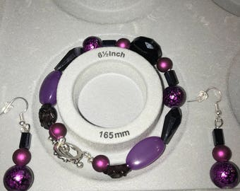 Purple Bracelet with matching Earrings