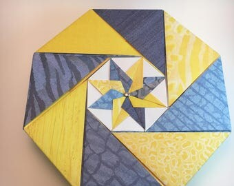 Handcrafted Origami Gift Box - Blue/Yellow