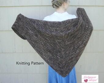 Espresso Shawl Knitting Pattern, Easy Knit, Garter Stitch Eyelets, Worsted Yarn, Prayer Shawl, Cozy Wrap