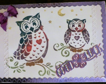 Good Luck Card -with two owls on purple red and blue in colour. Size is a large A4