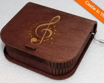 "Engraved Wooden Music Box  ""Castle In The Sky"" #2 - Hand Crank Movement"
