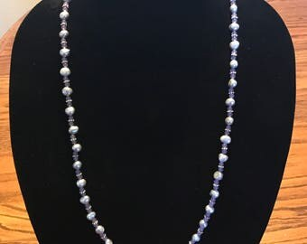 Gray fresh water pearl and light purple Amethyst necklace