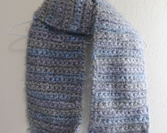 Gray, Blue, and Lavender Crocheted Scarf