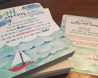 Sailboat Baby Sprinkle Invitation- 25 printed