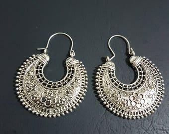 German oxidised silver medium sized brass silver oxidised tribal gypsy boho ethnic hoops with flower etching hippie jewelry