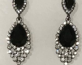 Jet Black and Clear Austrian Crystal Earrings