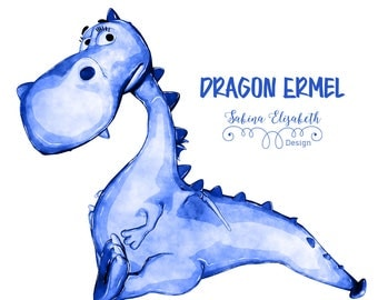 Dragon Ermel 2, blue, Watercolor Clipart, Baby, Child, Fun, Craft