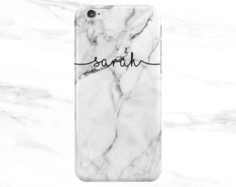 Personalised Name initials White Marble Swirl Phone Case for Apple iPhone 5 6 7 Plus & Samsung Galaxy Personalized Customized Monogram