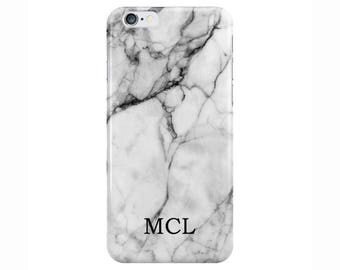 Personalised Name initials Small White Marble Phone Case Cover for Apple iPhone 5 6 6s 7 8 Plus & Samsung Galaxy Customized Monogram