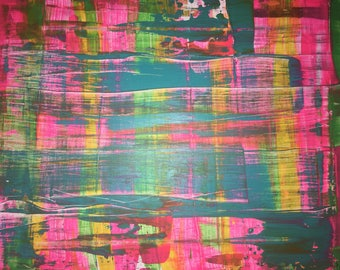 small Abstract neon pink acrylic painting collage 30x24 cm 11,81x9,45 inch
