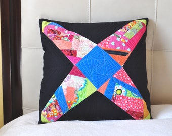 Unique, Quilted, Colorful, Decorative pillow case in  black  and multicolour
