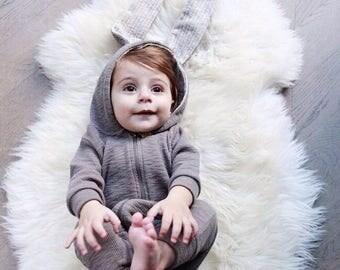 Baby and tolder bunny suit onesie - lt grey - Daily Brat