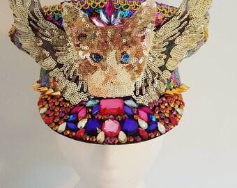 Cat princess with gold wings all over sequin rainbow multicoloured stud gemstone military festival hat burning man Coachella Ibiza raver UK