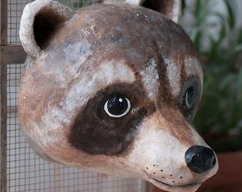 paper mache, raccoon, head wall mount, home decor, animal head, wall hanging