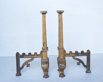 Antique Vintage fireplace Andirons Pair / Fire Dogs -