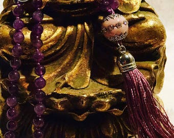 Amethyst Mala with 108 semiprecius gemstones