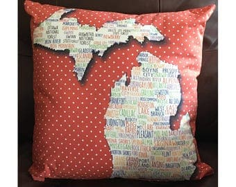 State of Michigan Pillow With Cities in Rust