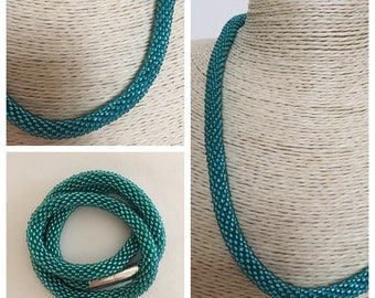 Handmade bead crocheted necklace