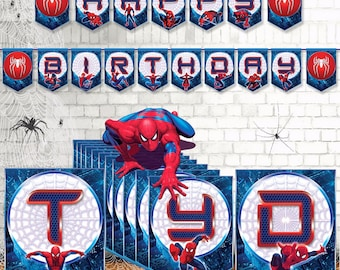 Spiderman Birthday Banner-Spiderman Party Banner-Spider Banner-Spider Party-Spiderman Printable- Spiderman Party Supplies-Instant DOWNLOAD