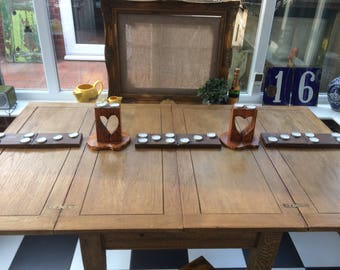 Domino table tea light holders wood crafted