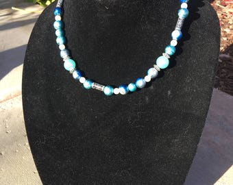 Shades of blue + pearl necklace