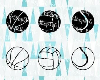 Sport Balls SVG, Basketball SVG, Volleyball SVG, Tennis Svg, Instant download, Sport Svg, Eps - Dxf - Png - Svg