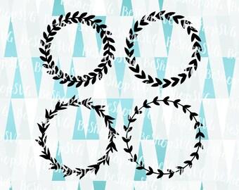 Floral Wreath SVG, Floral Frame bundle SVG, Laurel Wreath SVG, Floral Monogram Frame Svg, Instant download, Eps - Dxf - Png - Svg
