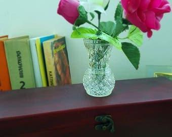 Vintage small glass vase, Mini retro vase, 1980s glass vase, home decor