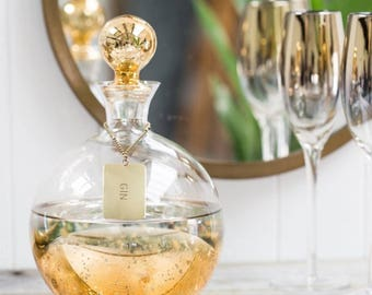 Gold Decanter With Personalised Tag