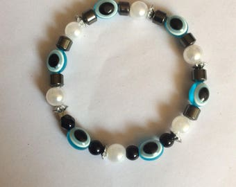 Blue white evil eye protection bracelet