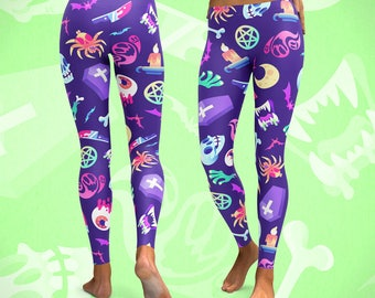 Horroriffic LEGGINGS Horror Pattern // All-Over Print // Pastel Goth // Witchcraft // Grunge Punk // Gifts for Her
